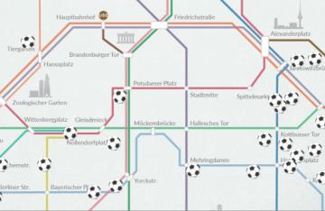 Digitale Karte von Berlin mit Orten von Sportaktivitäten