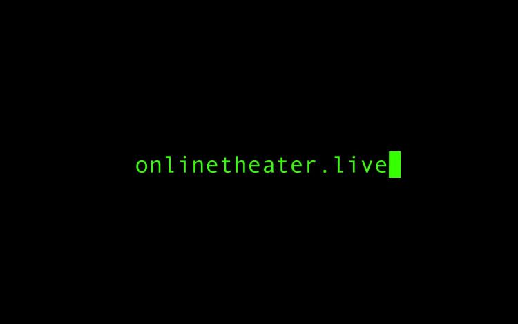 Online Theater Live Logo mit Cursor neon grün schwarzer Hintergrund