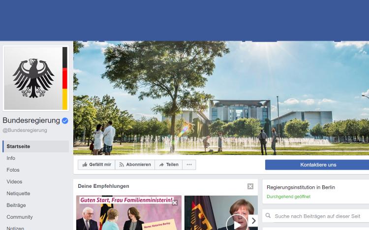 Ein digitaler Wahlkampf wird durch einen Screenshot Facebookseite der Bundesregierung veranschaulicht