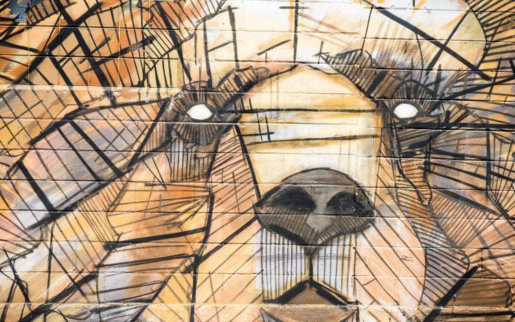 Straßenkunst Berlin: Graffiti Bär
