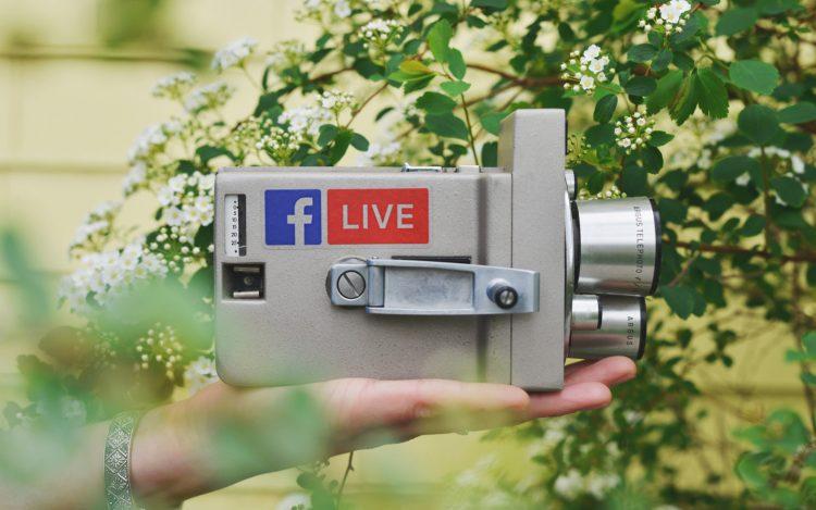 Digitaler Wahlkampf: Analog-Kamera mit Facebook Logo und Live Aufschrift vor dem Hintergrund der Natur