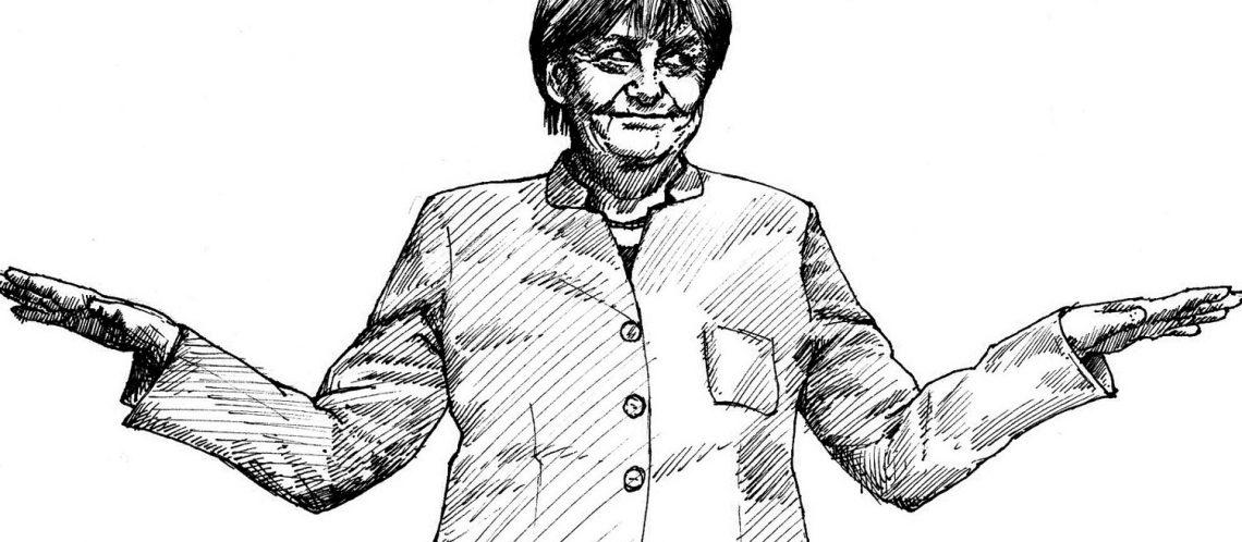 Skizze von Kanzlerin Merkel zum Artikel Wahlkampf 2017