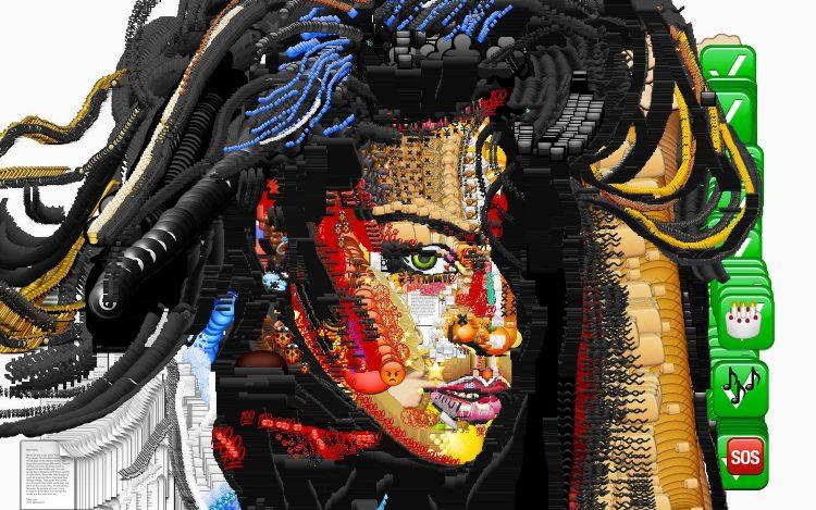 Bilder aus Emojis: Porträt von Rihanna aus Emoticons