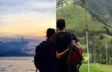 Reise-Collage, in welcher ein Paar die Arme um sich legt; aus der Fotokunst von Half Half Travel
