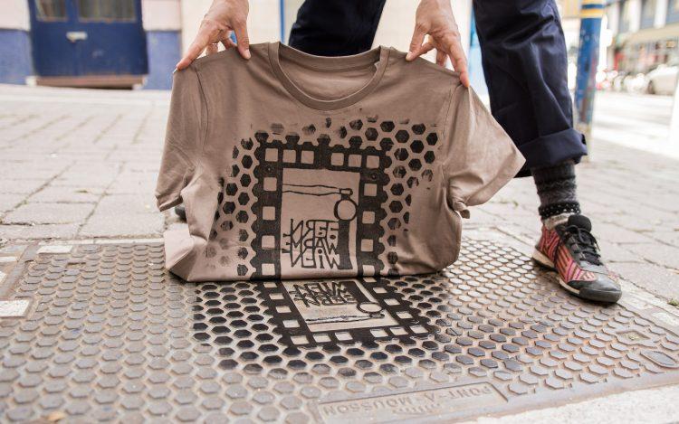 Straße Farbe T-Shirt Mann zum Artikelthema Raubdruckerin