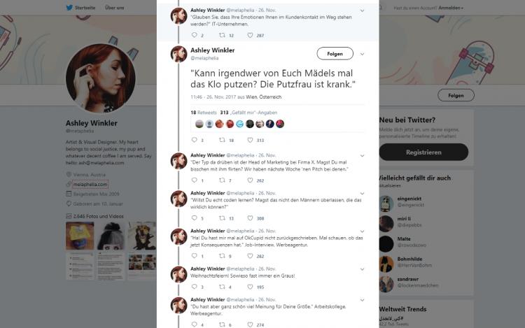 Twitter-Account zum Artikelthema Sexismus im Job: Ashley Winkler twittert für mehr Gleichberechtigung